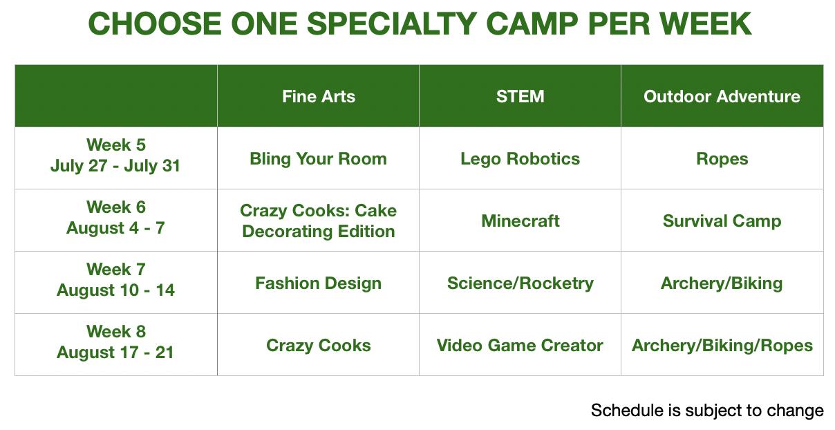 my camp schedule